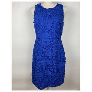 J. Crew Blue Floral Lace Sheath Dress 10P